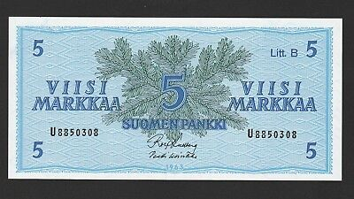 Finland 5 Markkaa Banknote,1963,Uncirculated Condition,Cat#105-A-0308