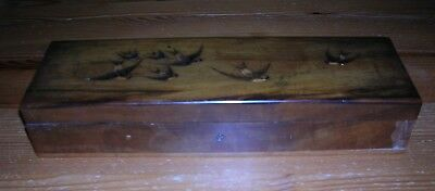 Vintage Sorrento Ware Wooden Case With Swallows Bird Images