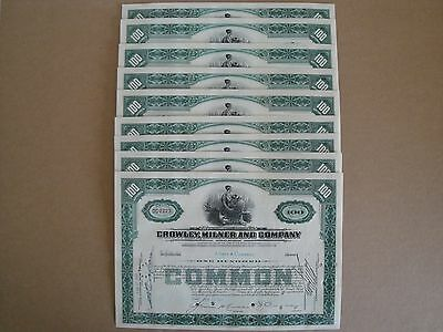Crowley, Milner and Company February 19th 1942 Stock Certificate (10 pcs)