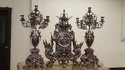 Very Big Brass Clock Set French style Hand made Gold Plated Louis XV