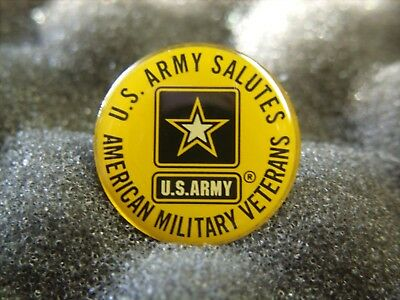 """US Army Pin - US ARMY SALUTES AMERICAN MILITARY VETERANS - New - 7/8""""  Across"""