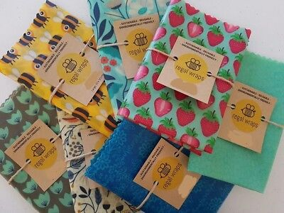 3 x Large Reusable Beeswax Food  Wrap - environmentally friendly