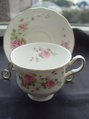 """Vintage """"Pink Roses"""" Cup/Saucer, Made in England for Avon 1974"""