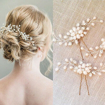Gold Wedding Bridal Pearls Hair Pins Crystal Jewelry Clips Accessories Comb New