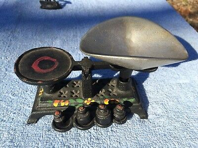 Vintage Cast Iron Mini Balance Scale h.Painted Decorations Complete with weights