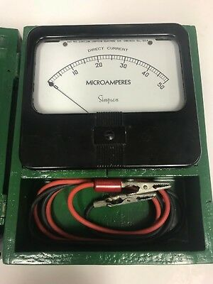 Antique Vintage Simpson DC Microamperes Meter with Custom Built Wooden Case