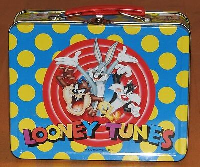 Vintage 1998 Metal Looney Tunes Lunch Box Bugs Bunny Tasmanian Devil Tweety Bird
