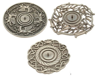 Pewter Candle Holder Plate - CelticCollection - Welsh Dragon - Daffodil - Celtic