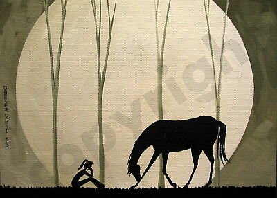 Bow bowing horse moon silhouette dark Giclee art Criswell ACEO print of painting