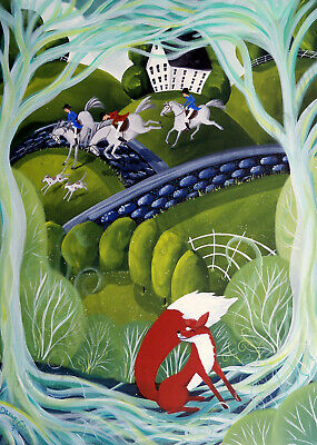Hunt scene fox horse hound whimsical Giclee art Criswell ACEO print of painting
