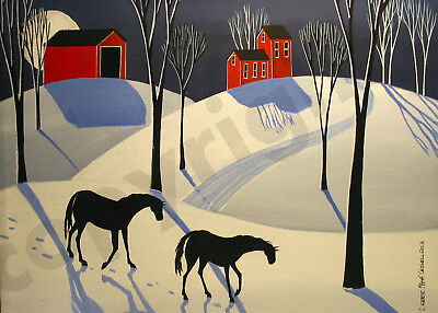 Winter snow country horses landscape Giclee art Criswell ACEO print of painting