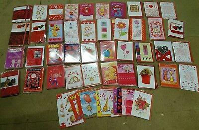 Valentines cards - Job Lot of 100 (10p per card)  (All individually wrapped)!!