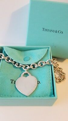 """Tiffany & Co 925 Sterling Silver Heart Tag 16"""" Toggle Necklace"""