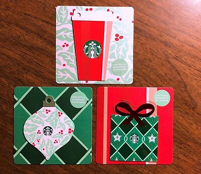 Starbucks Gift Card 2018 NEW Set (3) Die Cut Present Ornament Red Cup No $ Value
