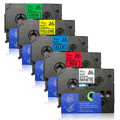 5PK TZe231-TZe731 12mm Label Tape Compatible for Brother P-Touch PTD210 PTD600