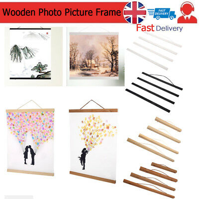 Magnetic Wooden Photo Picture Frame Wall Poster Scroll Prints Artwork Hanger DIY