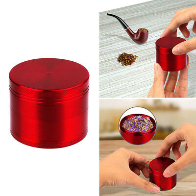 Tobacco Herb Grinder Spice Herbal Zinc Alloy Smoke Crusher 4 Piece 2-Inch Red