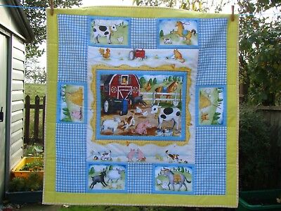 handmade patchwork farm themed quilt