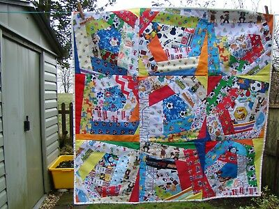 handmade boy themed crazy patchwork quilt
