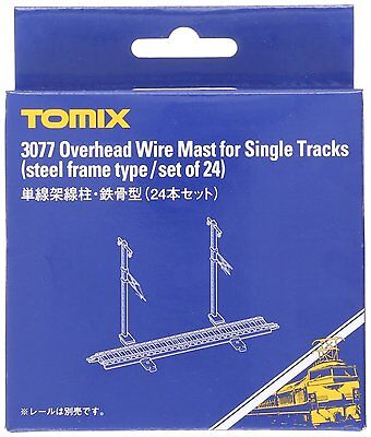 Tomix N Scale 3077 Overhead Wire Mast for Single Tracks 24 pcs