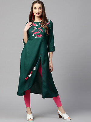 Women Green Indian Kurti Pakistani Embroidery Casual Traditional Top Tunic