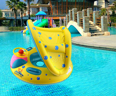 Inflatable Baby Kids Safety Swimming Pool Float Seat Boat with Sunshade Canopy