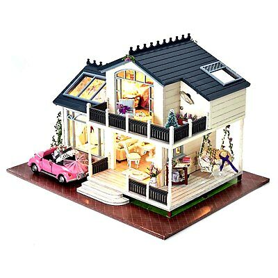 DIY Doll House Miniature Kits LED Light Wooden Framework Dollhouse Xmas Gift