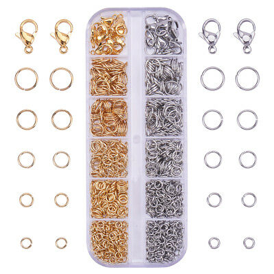 1 Box 720Pcs 304 Stainless Steel Open Jump Rings with 20pcs Lobster Claw Clasps