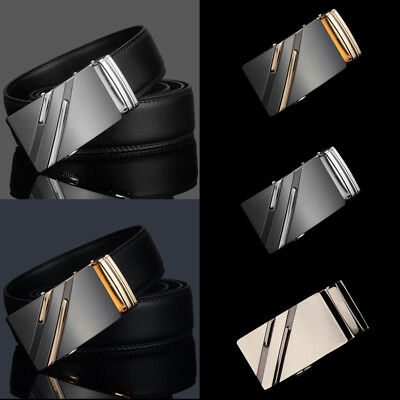 Luxury Mens Genuine Leather Ratchet Belt Automatic Buckle Waistband Waist Strap