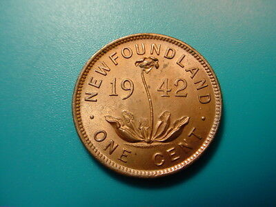 Newfoundland~ 1942 Small Cent in Beautiful Red Uncirculated Condition!