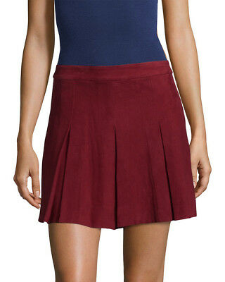 ea74cdbca NWT ALICE + Olivia Goat Leather Suede Pleat Skirt Red Size 10 $895 ...
