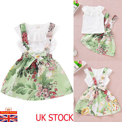 UK Kid Baby Girl 2Pcs Ruffle Tops Floral Braces Skirts Infant Summer Outfits Set