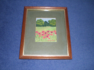 Small Embroidery Embroidered Framed Poppies Signed