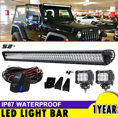 """52"""" inch LED Light Bar + 2x 4"""" Pods Offroad Truck 4WD FOR Chevy ATV SUV 50"""