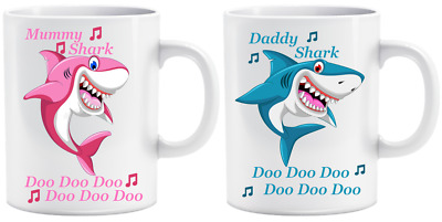 Personalised Baby Shark Mummy Daddy Name Funny Mug Cup Gift Birthday