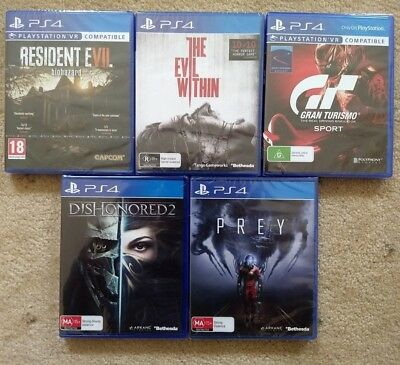 New Playstation 4 PS4 Games Bundle - Prey Dishonored 2 GT Sport Evil Within