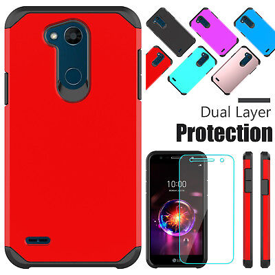 For LG X Power 3/2/Fiesta LTE Shockproof Rugged Case With Glass Screen Protector