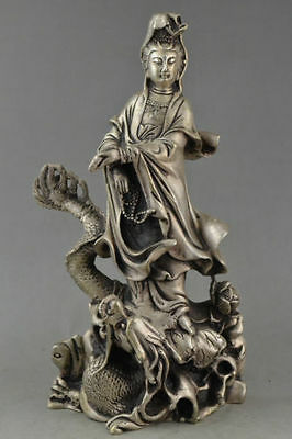 China Collectible Handwork Old miao silver carving kwan-yin on dragon big statue