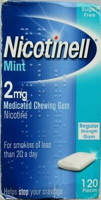 NICOTINELL Mint 2mg Medicated Chewing Gum Regular Strength 120 expiry 02/2019
