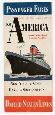S S America Passenger Fares July 1949 Brochure United States Lines