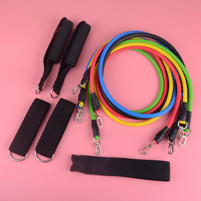 11pcs Exercise Band Yoga Tube Pull Rope Resistance Gym Fitness Elastic Portable
