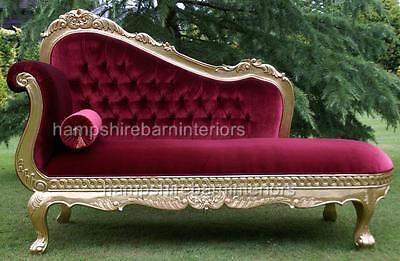 Red Velvet & Rich Gold Leaf Chaise Longue Lounge Sofa Home & Event Free Delivery