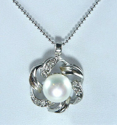 Real White Pearl 18KWGP Crystal Flower Women Girl Party Pendant Chain Necklace