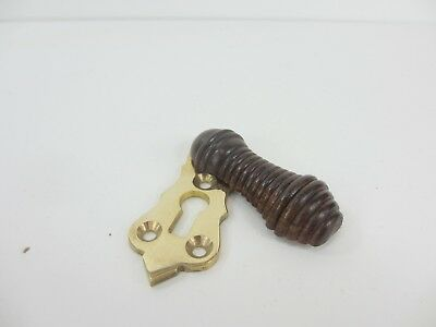 Beehive Wood Brass Keyhole Cover Escutcheon Plate Reeded Wooden Victorian STYLE