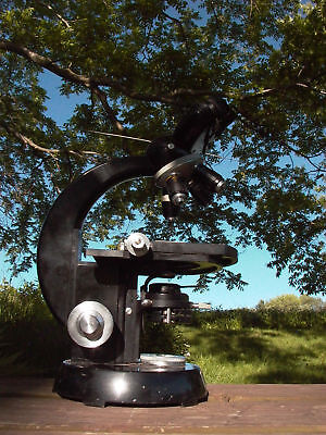Zeiss Winkel compound stage two eyepieces  Microscope w/ 4 lens turret