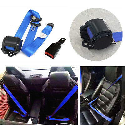 1x Blue 3 Point Retractable Car Safety Seat Belts Lap With Curved Rigid Buckle