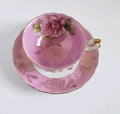 Vintage Royal Halsey Very Fine Pink Rose Footed Teacup Iridescent Mother Pearl