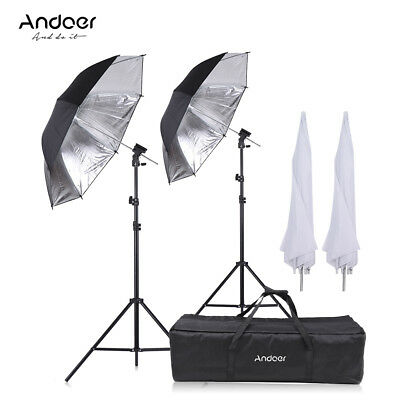 Camera Double Speedlight Flash Shoe Mount Swivel Soft Umbrella Bag Stand L2A0