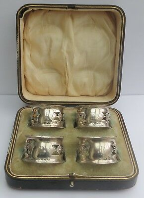 FINE BOXED SET OF FOUR(4) ANTIQUE ENGLISH SILVER NAPKIN RINGS c.1904