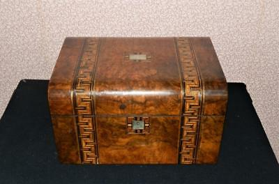 Victorian Burr Walnut Letter/Vanity Box W/ 2 Secret Compartments & MOP Inlay